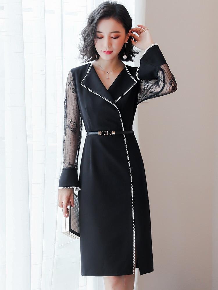 Damas Sexy 2019 Verano Elegante Vestido De Bodycon Mujer Oficina Black Ropa Zt1982 Vestidos Primavera Fiesta Formal YzqFn