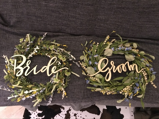 wooden letter wood groom and bride chair signs for vintage rustic wedding decoration and wedding photo