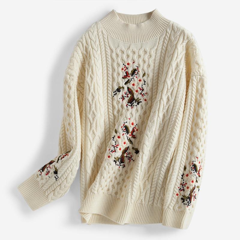 Полушерстяные Витая Вязать Женская мода вышивка пуловер свитер половина высокий воротник белый 3 цвета один и более размер