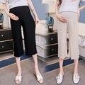 Летние шифоновые плиссированные широкие брюки для беременных женщин, девять штанов, модные прямые свободные штаны для мам