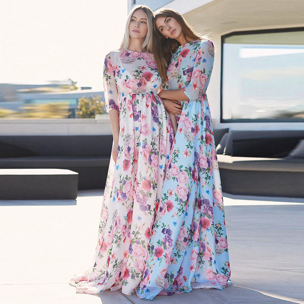 Women's Clothing Feitong Boho Floral Print Beach Long Dress Women Chiffon Half Sleeve Wrap Maxi Dress Sexy O Neck Summer Dress Chiffon Vestido Meticulous Dyeing Processes