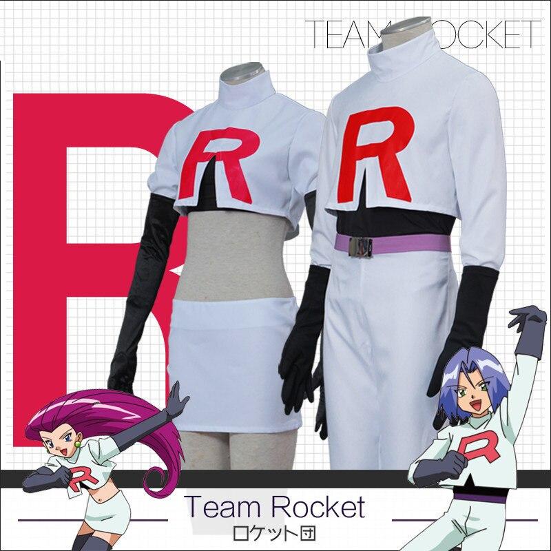 Equipe Rocket Jesse James Musashi Kojirou Conjunto Completo traje cosplay Jogo Anime Pokemon Ir!
