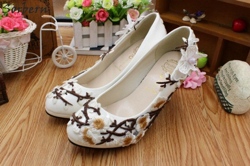 Fleurs Blanc Pompes flat Heel 5cm Talons Fleur 4 8cm De Petit Sorbern Prunier Mariée Heel Nouveau Confortables Mariage Heel Femmes Heel 3cm Chaussures 87S1gxd