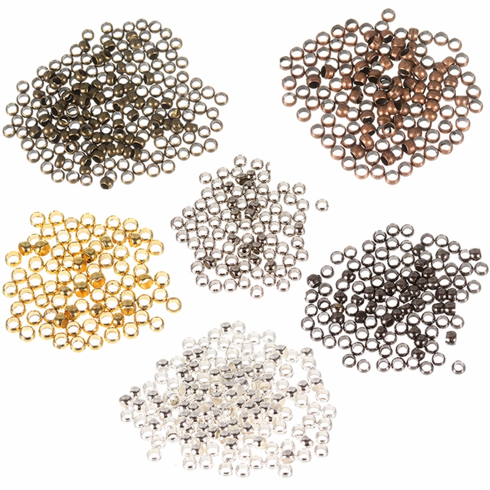 1000p 2//2.5//3mm 5color round Metal plated ball crimps stopper end beads findings