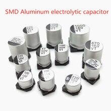 40 шт., алюминиевый электролитический конденсатор SMD 50 в 35 в 25 в 16 в 10 в 100 мкФ 220 мкФ 47 мкФ 33 мкФ 22 мкФ 10 мкФ 4,7 мкФ 2,2 мкФ 1 мкФ