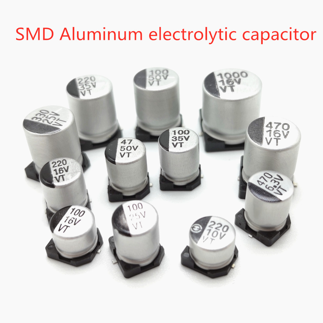 40pcs <font><b>SMD</b></font> 50V 35V 25V <font><b>16V</b></font> 10V <font><b>100UF</b></font> 220UF 47UF 33UF 22UF 10UF 4.7UF 2.2UF 1UF Aluminum Electrolytic <font><b>Capacitor</b></font> image