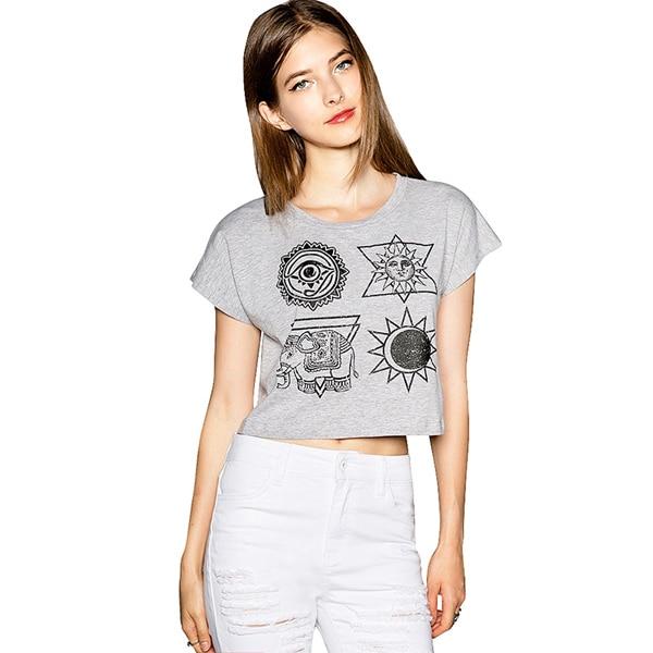 T Short Women Crop Top 2017 Summer Womens Tops Fashion Print Gray