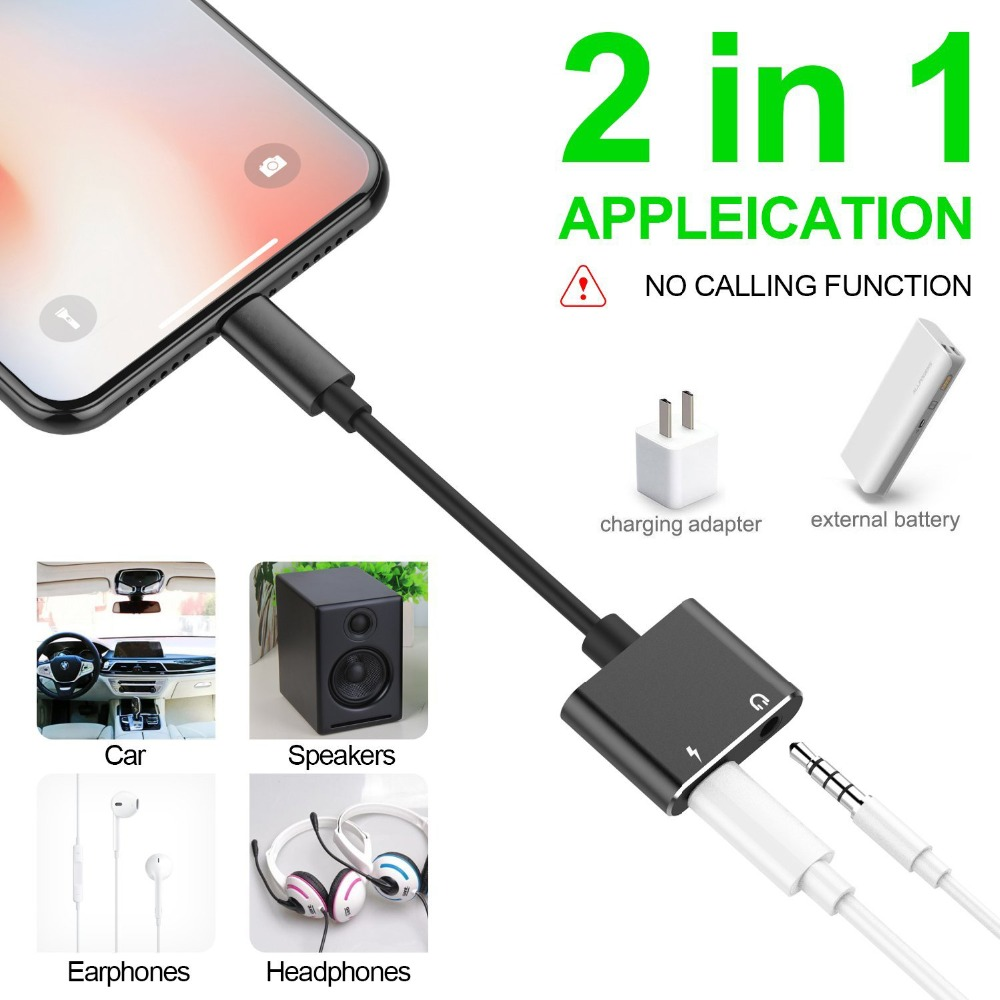 2 in 1 for Lightning Adapter For iPhone 7 For Dual Audio