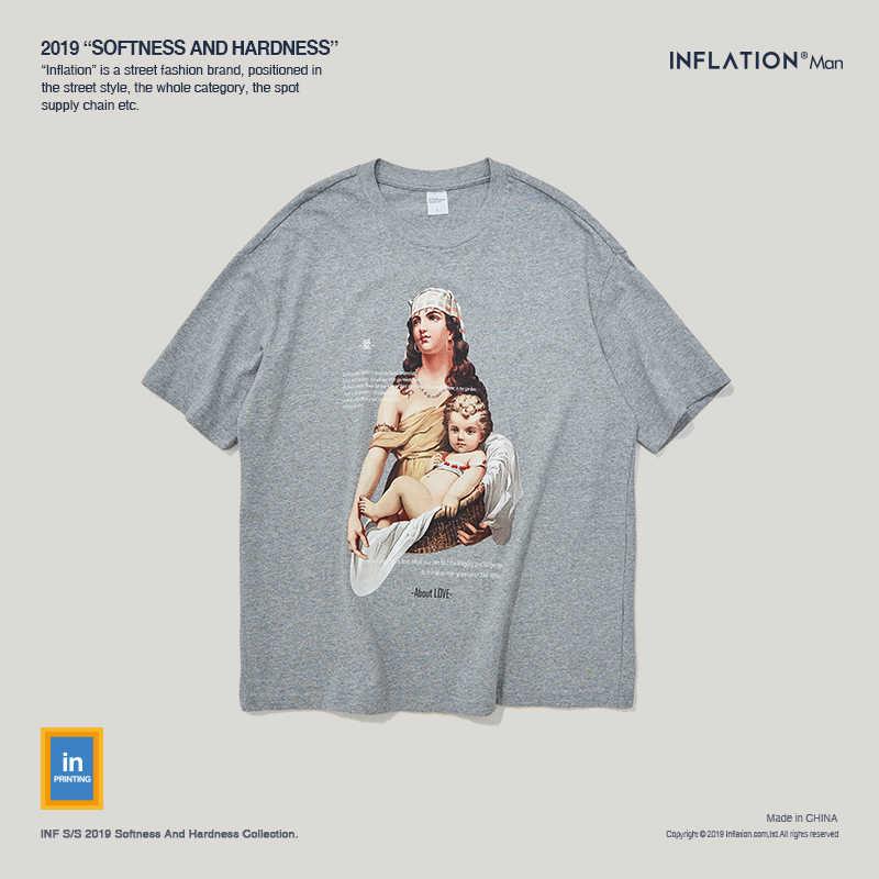 INFLATION High Street Men T Shirt Love Printed Retro T-Shirt Male Streetwear Summer Tee Oversize camisetas hombre 91343S