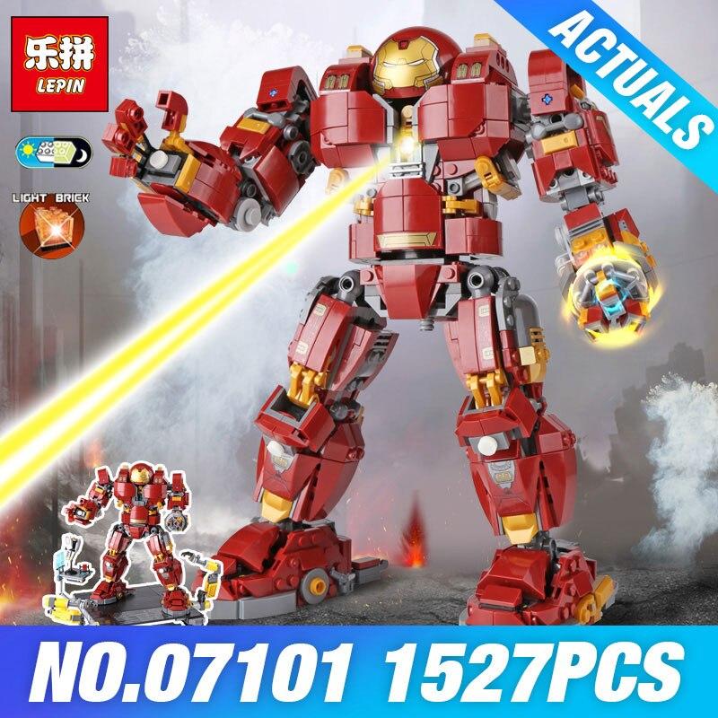 Lepin 07101 1527Pcs Super Genuine Hero Series The 76105 Iron Man Anti Hulk Mech Set Kid's Toy Building Bricks Blocks Model Gifts цена