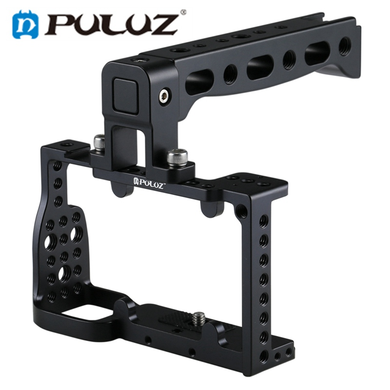 PULUZ PU3020B Aluminum Alloy Video Camera Cage Protector Handle Stabilizer for for sony A6300 / A6000 Cameras fotopal aluminum alloy dslr video camera cage handle grip stabilizer kit for sony a6000 a6300 a6500 camera