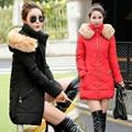 NXH 2017 Новая Мода зимняя куртка женщин вниз куртка хлопка долго рукав Тонкий оттрахали меховым воротником с капюшоном зимнее пальто куртка Плюс Размер