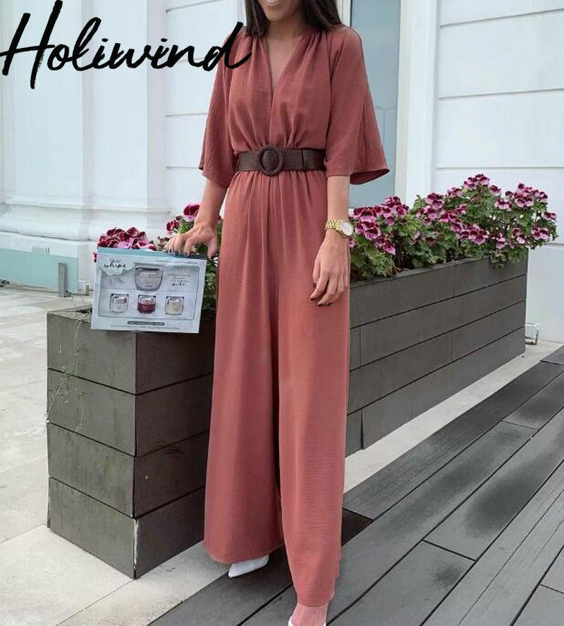 2019 Summer Women Rust Red Color V-neck   Jumpsuits   Short Sleeves Wide Leg Rompers With PU Belt combinaison femme