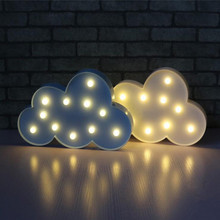 Novelty 11 LED White Blue Cloud Letter 3D Marquee Night Light Christmas Decoration Kids Gift Lighting Lamp Battery Operated Room