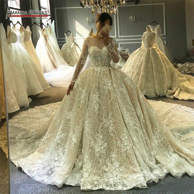 למעלה איכות 100% העבודה האמיתית אמנדה novias שמלות כלה מעצב כלה שמלה