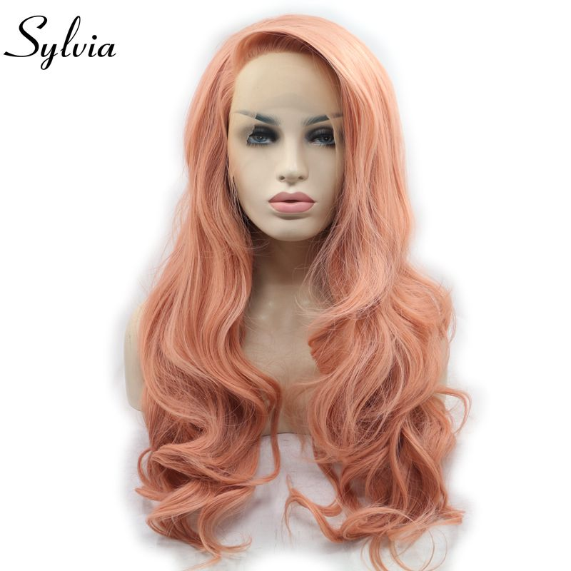 Sylvia Peach Pink Rose Gold Synthetic Lace Front Wigs Side Part Body Wave Heat Resistant Fiber Hair For Women