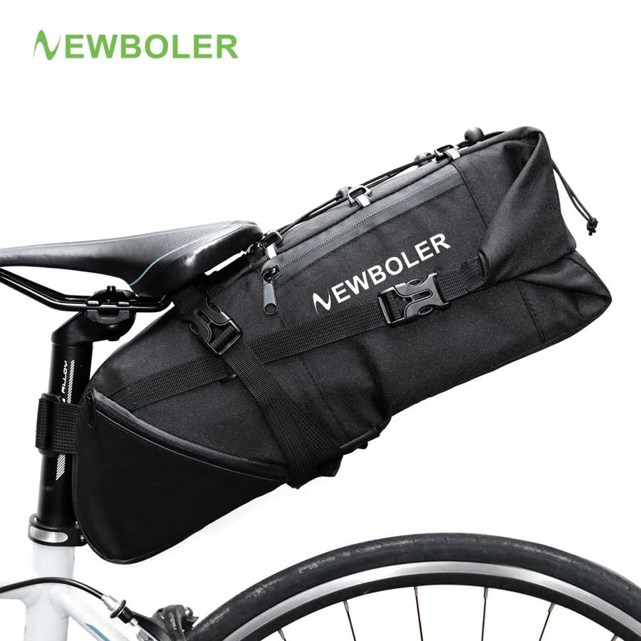 NEWBOLER Bikepacking Bags Large Bike Saddle Bags 13L Fully Waterproof Bike Bag Under Seat Roll Up Cycling Rear Tail Pack Black