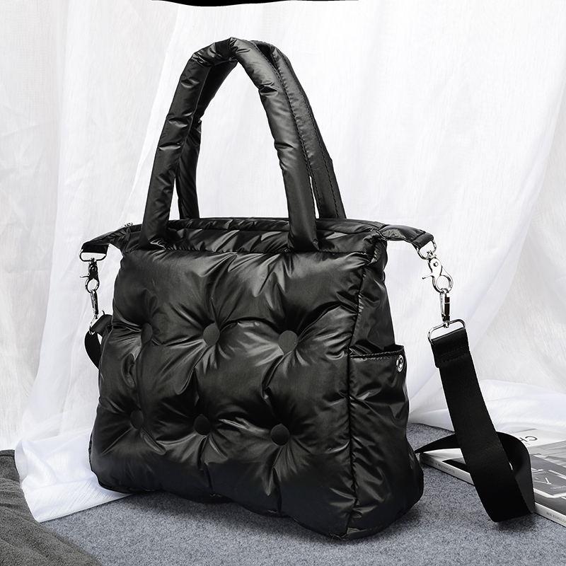 Image 4 - Winter new Women Space Pad Cotton Feather Down Bag Bucket Handbag  nylon Shoulder Tote sac a main carteira Bolsa Feminina