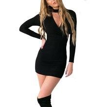Зима-осень платье 2016 Женская обувь с длинным рукавом сексуальное черное вязаное платье Повседневное Bodycon платье Свадебные платья Короткие Платья-свитеры