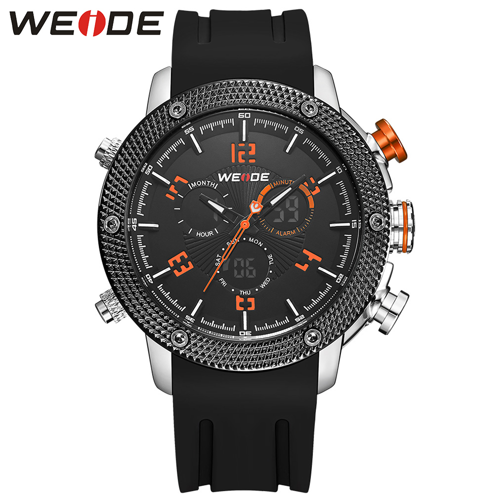 WEIDE Men Casual Watch Silicone Band Japan Movement Dual Time Zone Analog LCD Digital Men Army Fashion Waterproof Quartz Watches oulm hp9865 pc21s japan movement quartz watch with decorated compass dual time zone watch
