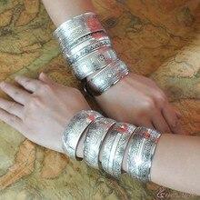 Vintage Tibetan silver seedlings wide bracelets Bohemian carved ornaments Multilayer Wide Wrap Bracelet Female Jewelry