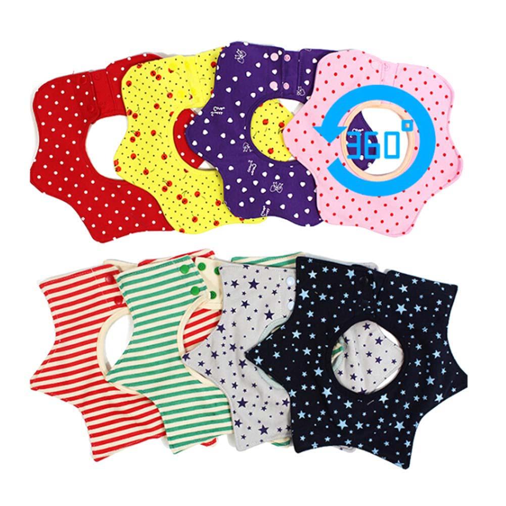 Baby Bibs Flower Star Babador Waterproof Slobber Towel Baby Bib Saliva Towel Snap Octagonal Circular Rice Bag