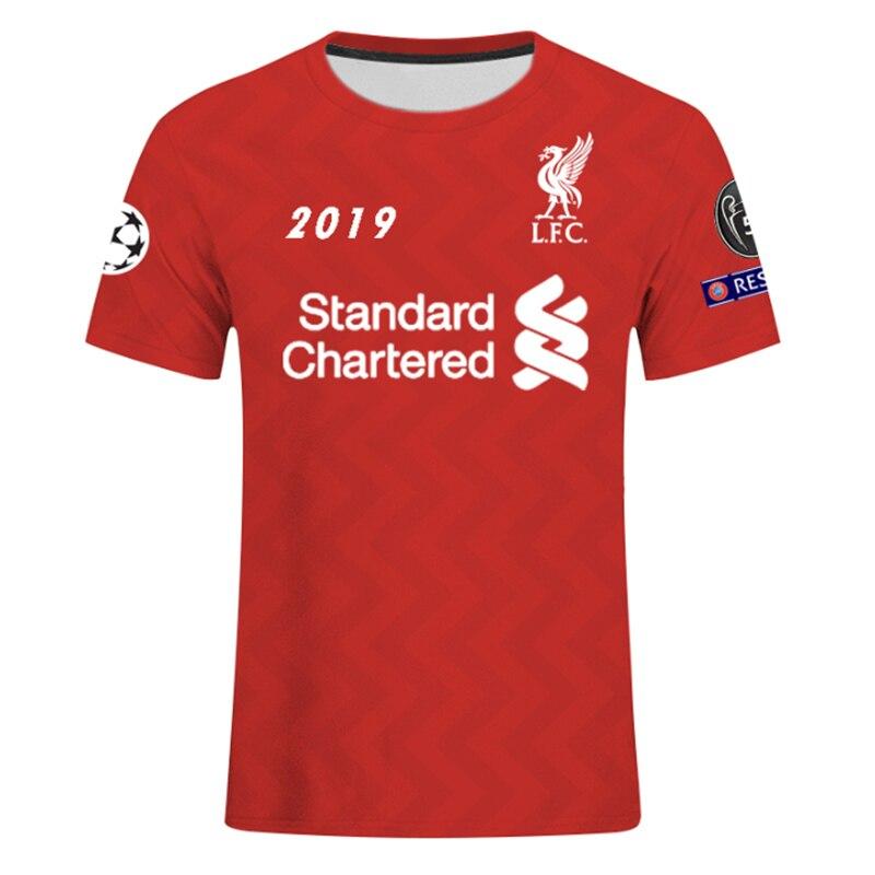 3D Print UEFA Champions League 2018 2019 Liverpool Football Club VS F.C.Barcelona   T     Shirt   Men RoundNeck Football Jerseys   T     Shirt