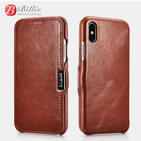 Mobile Phone bags For iPhone X Vintage Series Side open(Metal clip in the front) for iphoneX Genuine Leather Luxury Cases Cover