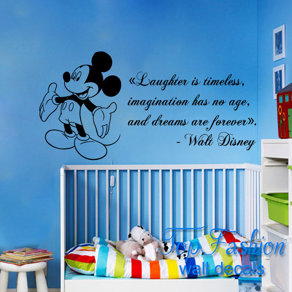 Free Shipping 38x81cm Mickey Mouse Wall Decals Quote Laughter Vinyl Sticker  Kids Nursery Decor China. Popular Mickey Mouse Wall Decal Quotes Buy Cheap Mickey Mouse Wall