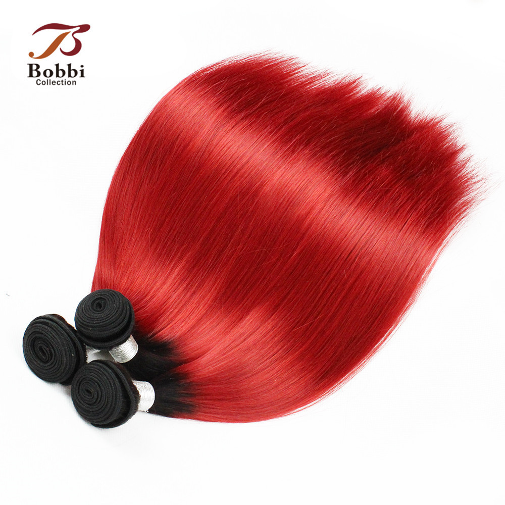 T 1B Red Ombre Brazilian Hair Weave 1 Bundle Silky Straight Dark Root Red Fashion Color Human Hair Extension Bobbi Collection