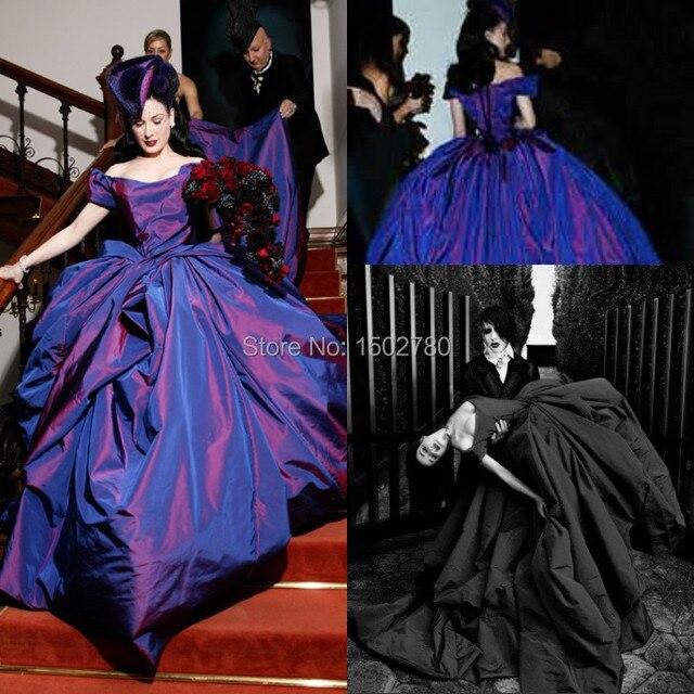 7d9e12e018 Dita Von Teese Celebrity Wedding Dresses Taffeta Cathedral Train Ball Gown  Purple Wedding Dress