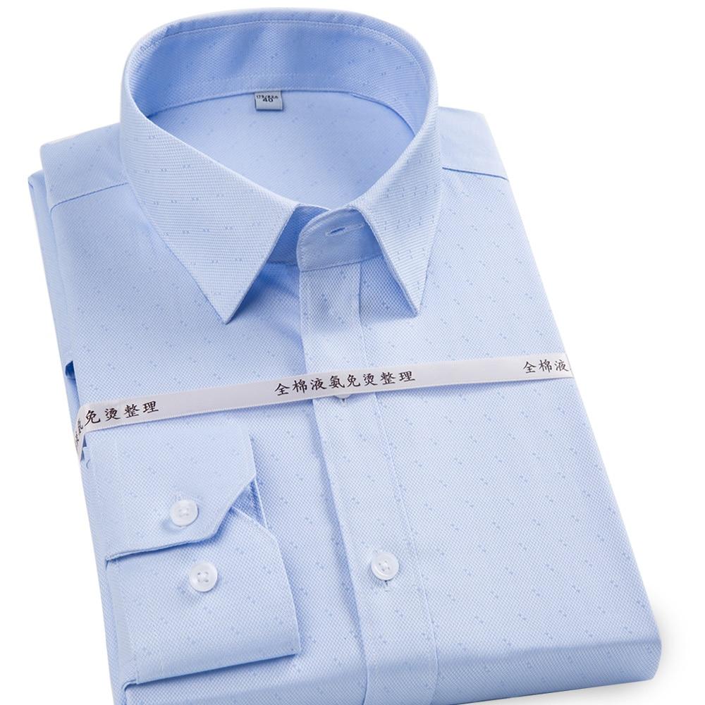 100% Reine Baumwolle Marke Hohe Qualität Nicht-eisen Formale Männer Kleid Shirts Langarm Einfarbig/gestreiften Business Büro Arbeit Shirt Reisen
