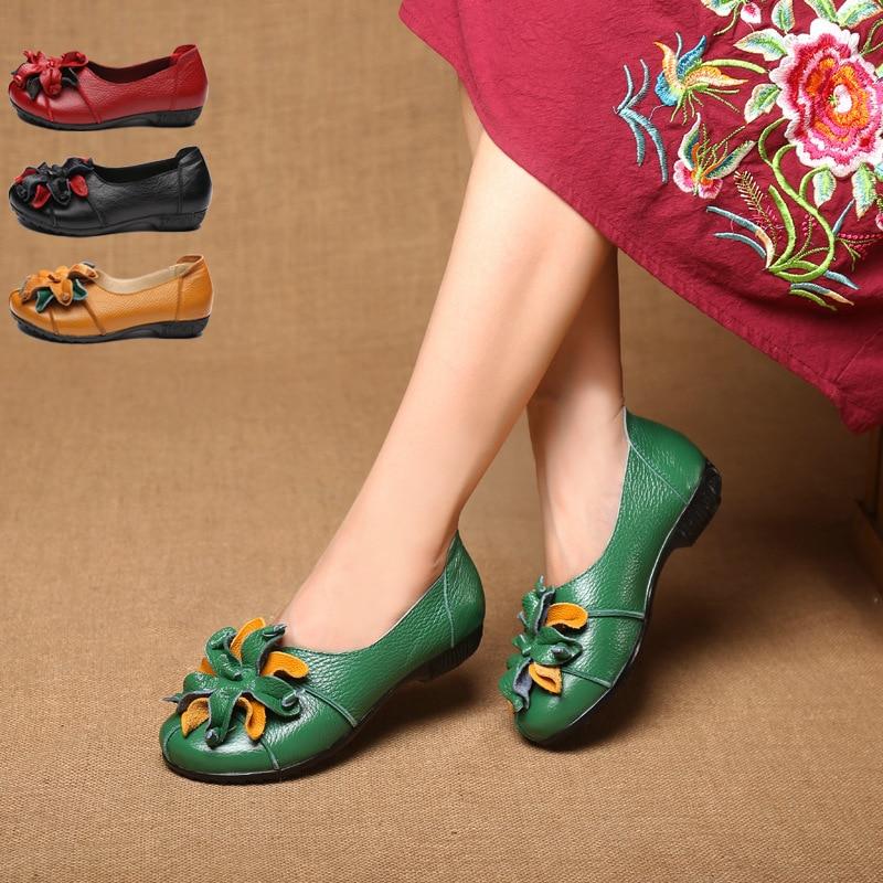 Couleur Véritable Été Chaussures Solide Mocassins Mode Appartements Automne jaune Plat De En Fille rouge Rond Cuir Noir M975 Vintage Fleur Femmes Conception vert Bout rp68Cnqrw
