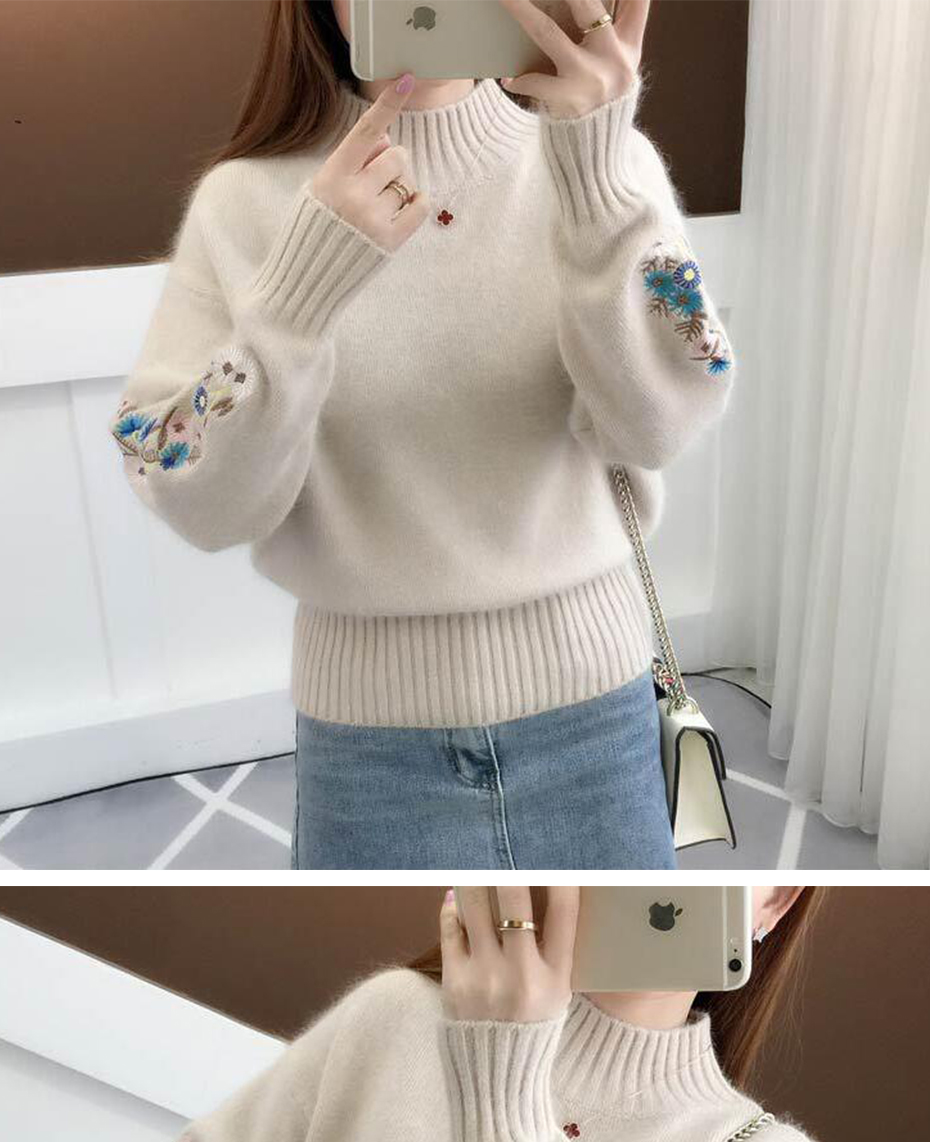 Surmiitro Cashmere Women Turtleneck 19 Autumn Winter Knitted Embroidery Jumper Women Sweaters And Pullovers Female Pull Femme 15