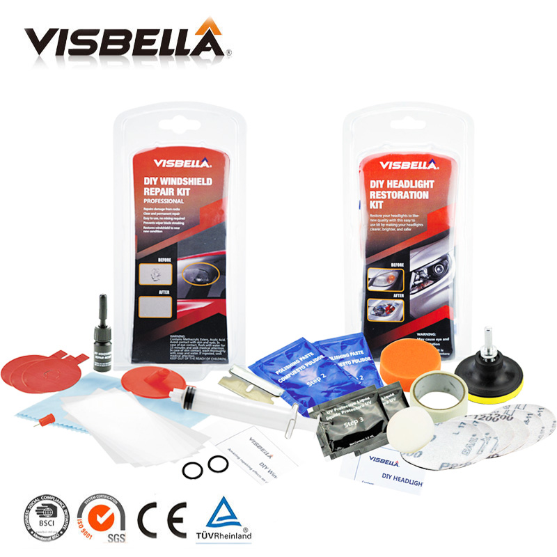 Visbella Windscreen Glass Renwal Repair Tools Auto Windshield Scratch Restore Kit And Headlamp Restoration Kit Headlight Clean