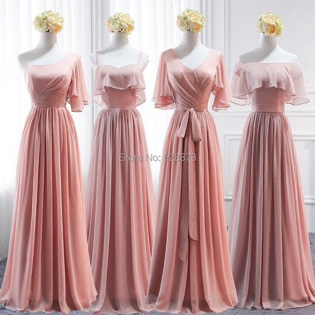 aad44b41bb8 YNQNFS BD1 Elegant Chiffon Multi Color One Shoulder Half Sleeves Bridesmaid  Dresses Peach Pink