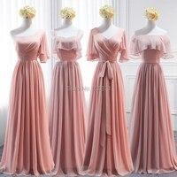 YNQNFS BD1 Elegant Chiffon Multi Color One Shoulder Half Sleeves Bridesmaid Dresses Peach Pink