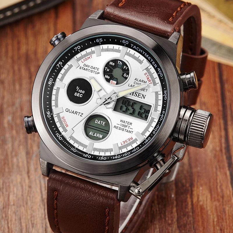OHSEN Brand Fashion Casual Men Watches Digital Sport Leather Watch Business Quartz Watchwrist Relogio Masculino Luxury Men clock ohsen 2821 sport quartz watch blue