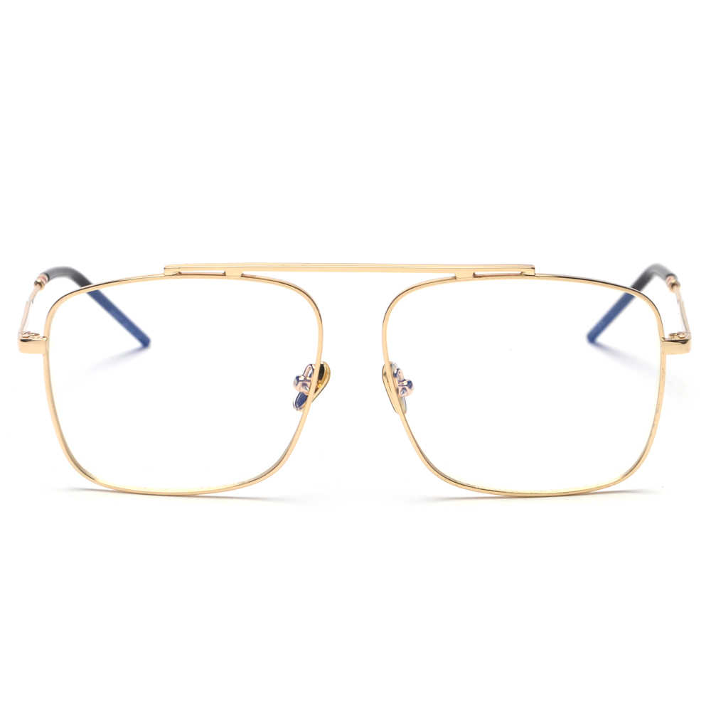 1b4608b8bc4 ... Peekaboo square glasses frame women gold metal 2018 brand designer flat  top big eyeglasses optical frame ...