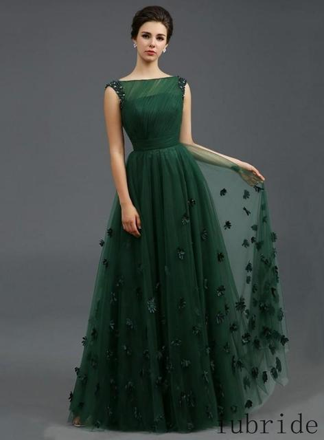 2015 Zuhair Murad Formal Evening Dresses Emerald Green Tulle Cap Sleeve  Flowers Celebrity Dress Arabic Special Occasion Gowns 02993776ed07