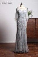 Luxury New Long Evening Dress 2018 Scoop Neck Floor Length Mermaid Beading Tulle Formal Dress Prom