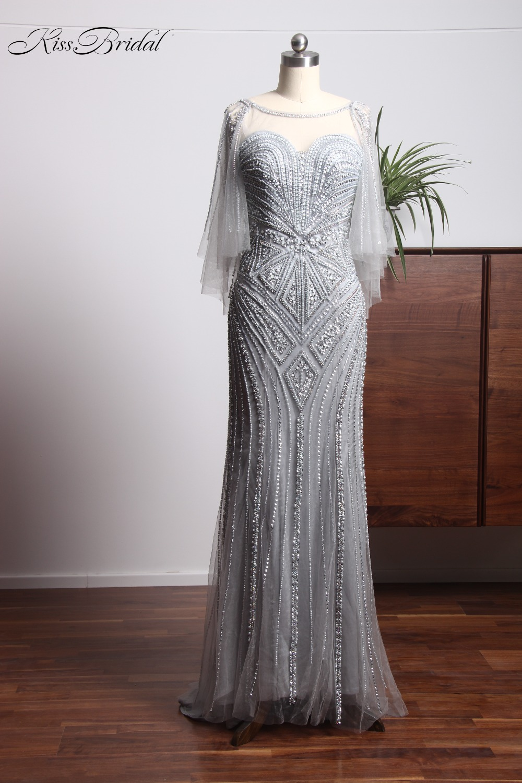 Luxury New Long   Evening     Dress   2018 Scoop Neck Floor length Mermaid Beading Tulle Formal   Dress   Prom   Dresses   Vestido de noche