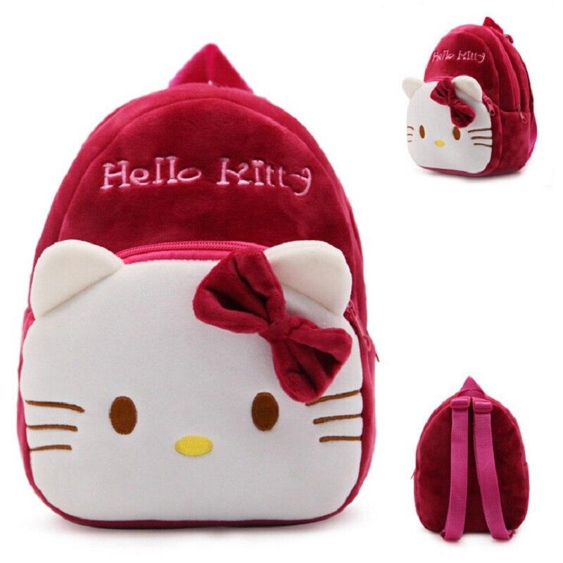 Wine Red Hello Kitty Plush Backpacks Cartoon Toy Backpack Girl Character School Bag Mini Schoolbag S2162