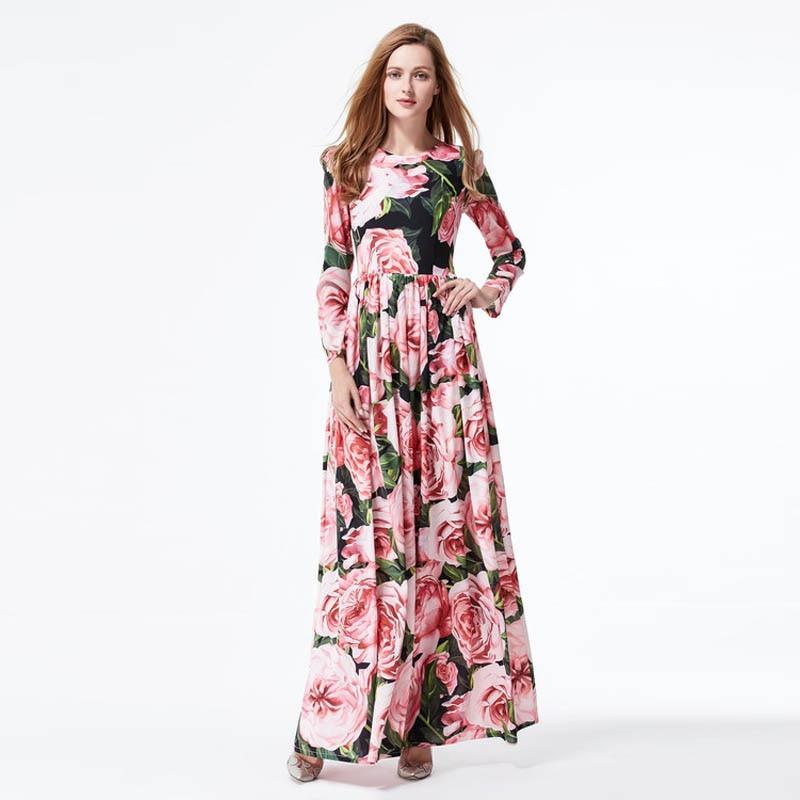Custom Dress S-7XL Spring Newest Full Sleeve Europe Fashion Flowers Print Floor-Length Cute Expansion Long Plus Size Dress Women long sleeve printed floor length plus size dress