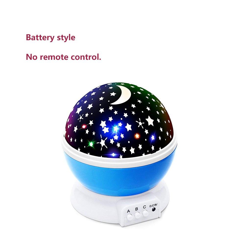 Elecstars LED светодио дный ночник детский вращающихся Star Сенсорный проектор освещения Луна Небо Рождество Дети светильник для малышей подарки для женщин настольная лампа USB датчик движения - Испускаемый цвет: blue no battery
