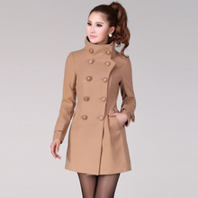 2017 Autumn Women's Double-breasted Coats Woolen Tweeds Silm Camel Blends Long Overcoats Female Black Red Jackets Wool TC114