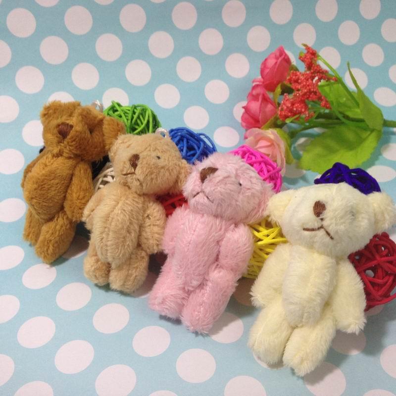 100pcs 4 5cm mini color teddy bear doll pendants wholesale baby cartoon bouquet of filler material