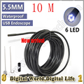 5.5mm Dia 10M Length USB Endoscope mini Camera Waterproof IP66 Snake Tube Pipe Borescope Cmos 6LEDS Micro Video security camera
