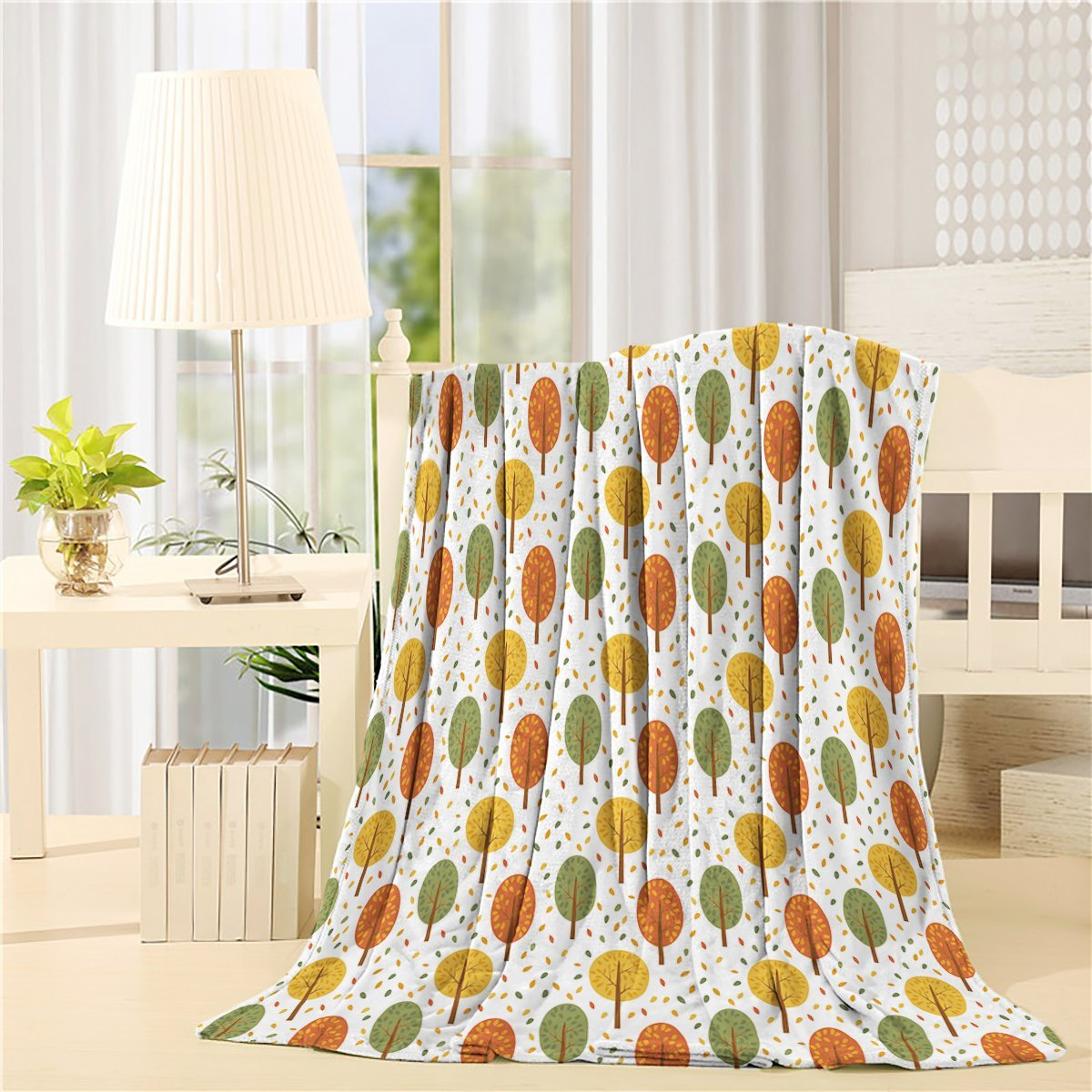 Modern Home Yellow Orange Green Trees Art Prints Fleece Blanket Sheet Throw Bedding Blanket