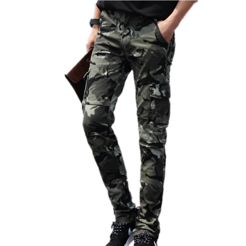 2018 spring and autumn fashion new men's casual boutique camouflage trousers / Men's Multi Pocket Design Overalls Pants